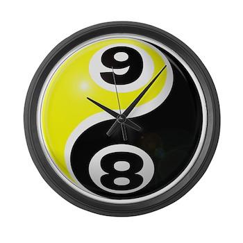 8 Ball 9 Ball Yin Yang Large Wall Clock