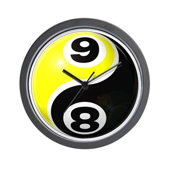 8 Ball 9 Ball Yin Yang Wall Clock