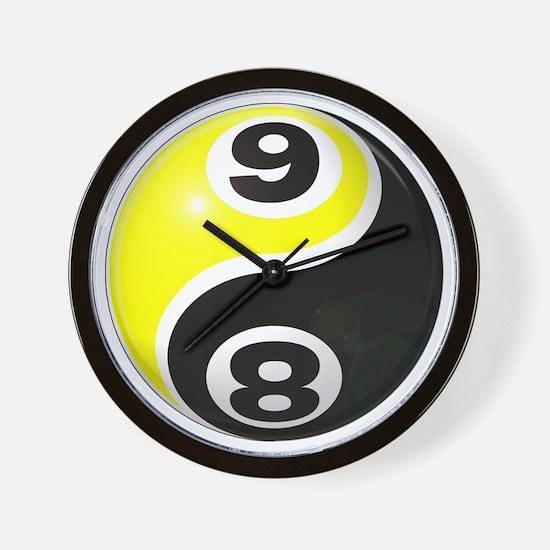 8 Ball 9 Ball Yin Yang Wall Clock