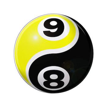 "8 Ball 9 Ball Yin Yang 3.5"" Button (100 pack)"
