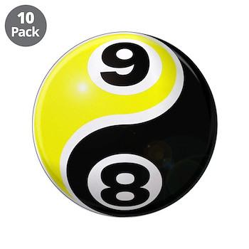"8 Ball 9 Ball Yin Yang 3.5"" Button (10 pack)"