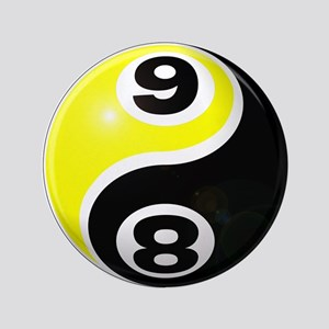 "8 Ball 9 Ball Yin Yang 3.5"" Button"