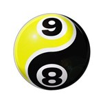 "8 Ball 9 Ball Yin Yang 3.5"" Button"