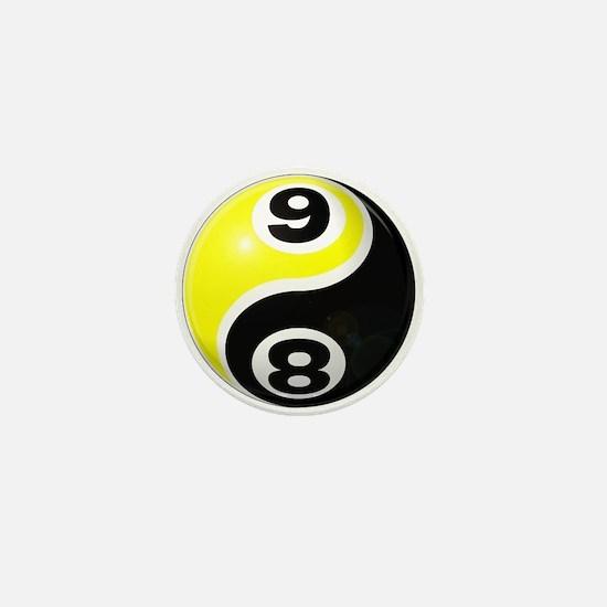 8 Ball 9 Ball Yin Yang Mini Button