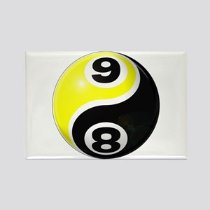8 Ball 9 Ball Yin Yang Rectangle Magnet
