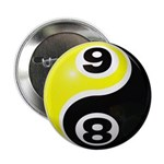 "8 Ball 9 Ball Yin Yang 2.25"" Button (100 pack"