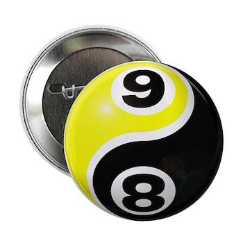 "8 Ball 9 Ball Yin Yang 2.25"" Button (100 pack"