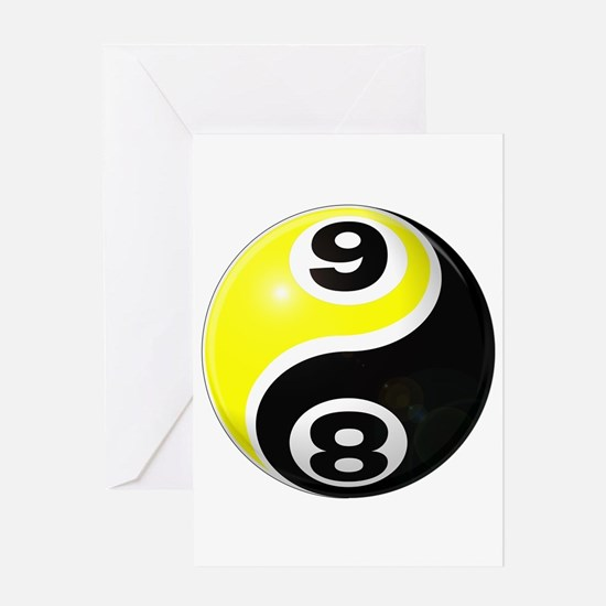 8 Ball 9 Ball Yin Yang Greeting Card