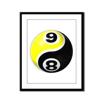 8 Ball 9 Ball Yin Yang Framed Panel Print