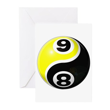 8 Ball 9 Ball Yin Yang Greeting Cards (Pk of 10)