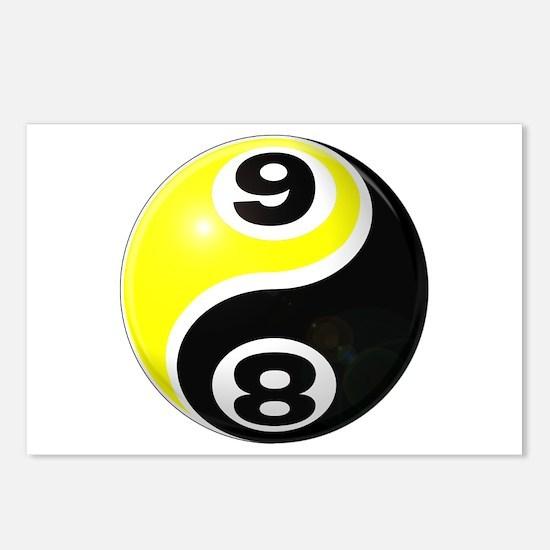 8 Ball 9 Ball Yin Yang Postcards (Package of 8)