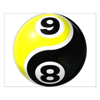 8 Ball 9 Ball Yin Yang Small Poster