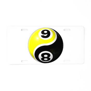 8 Ball 9 Ball Yin Yang Aluminum License Plate