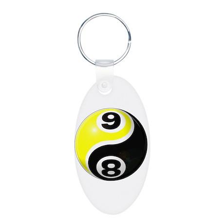 8 Ball 9 Ball Yin Yang Aluminum Oval Keychain