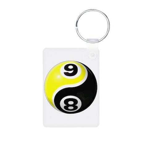 8 Ball 9 Ball Yin Yang Aluminum Photo Keychain