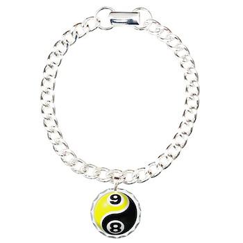 8 Ball 9 Ball Yin Yang Charm Bracelet, One Charm