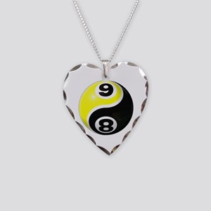 8 Ball 9 Ball Yin Yang Necklace Heart Charm