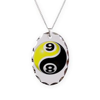 8 Ball 9 Ball Yin Yang Necklace Oval Charm