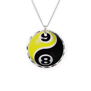 8 Ball 9 Ball Yin Yang Necklace Circle Charm