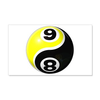 8 Ball 9 Ball Yin Yang 22x14 Wall Peel