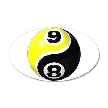 8 Ball 9 Ball Yin Yang 38.5 x 24.5 Oval Wall Peel