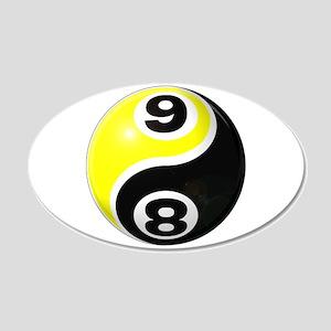 8 Ball 9 Ball Yin Yang 22x14 Oval Wall Peel