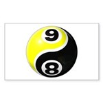 8 Ball 9 Ball Yin Yang Sticker (Rectangle 10 pk)