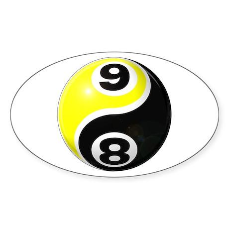 8 Ball 9 Ball Yin Yang Sticker (Oval 50 pk)