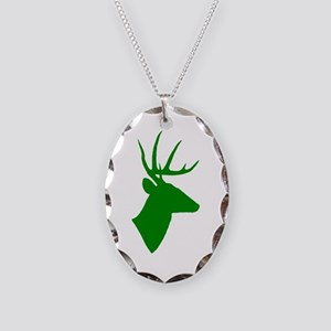 Green Deer Necklace Oval Charm