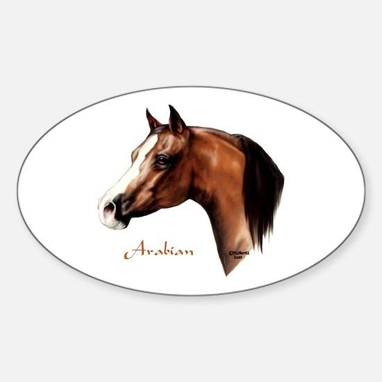 Bay Arabian Horse Sticker (Oval)