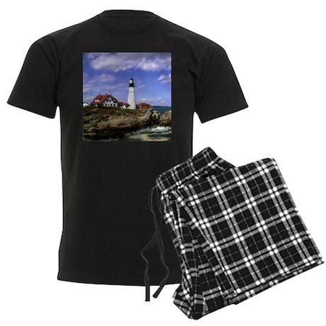 Maine Lighthouse Men's Dark Pajamas