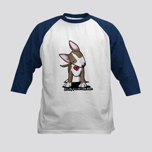 Brindle Bull Terrier Kids Baseball Jersey