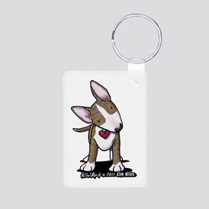 Brindle Bull Terrier Aluminum Photo Keychain