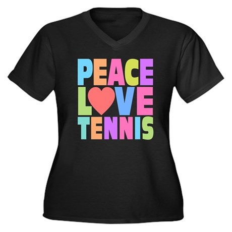 Peace Love Tennis Women's Plus Size V-Neck Dark T-