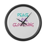 Peace Love Geocaching Large Wall Clock