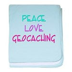Peace Love Geocaching baby blanket