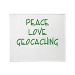 Peace Love Geocaching - Green Throw Blanket