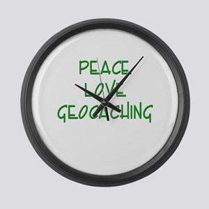Peace Love Geocaching - Green Large Wall Clock