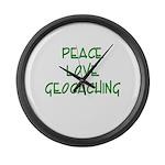 Peace Love Geocaching - Green Large Wall Clock