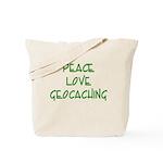 Peace Love Geocaching - Green Tote Bag