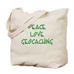 Peace Love Geocaching - Green Tote Bag
