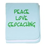 Peace Love Geocaching - Green baby blanket