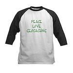 Peace Love Geocaching - Green Kids Baseball Jersey