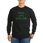 Peace Love Geocaching - Green Long Sleeve Dark T-S
