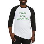 Peace Love Geocaching - Green Baseball Jersey