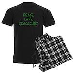 Peace Love Geocaching - Green Men's Dark Pajamas