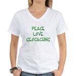 Peace Love Geocaching - Green Women's V-Neck T-Shi