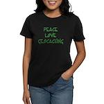 Peace Love Geocaching - Green Women's Dark T-Shirt