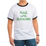Peace Love Geocaching - Green Ringer T