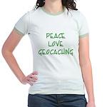 Peace Love Geocaching - Green Jr. Ringer T-Shirt